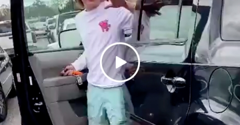 Idiot kid brazenly attempts Hit and Run, gets immediate Karma (Video)