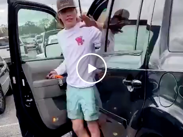 Idiot kid brazenly attempts Hit and Run, gets immediate Karma (Video)