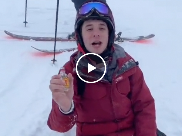 Buddy tries to snowboard after 12 shots of fireball