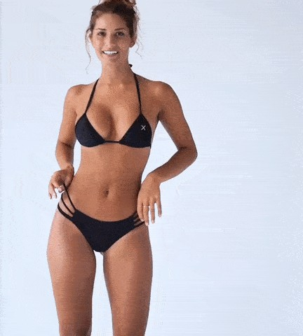 Sexy hot model shocasing the various bikinis and even her curves in different poses and pictures as she turns and twists in this Gif